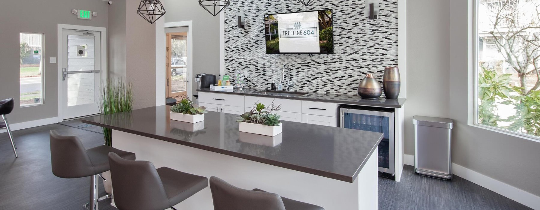 clubhouse kitchen with island and abundant natural lighting
